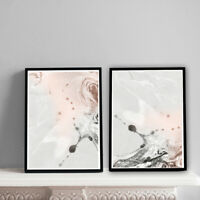 Home Prints A4,Pink & Grey Marble Pattern,Gift, Wall Art-NO FRAME