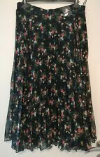 Marks and Spencer Black Flower Print Long Pleated Maxi Skirt Size 16R BNWT
