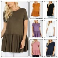Zenana  Womens Long Tunic Ruffle Hem Top Short Sleeve Loose Shirt (S-XL)