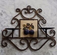 Italian Ceramic Plum Fruit Tile & Iron Wall Candle Holder
