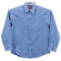 Covington Long Sleeve Faux Sueded Button Down Blue Shirt Men's Size Medium euc