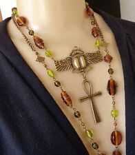 Vintage Necklace Egyptian Scarab Pendant W/ Ankh Drop Long Art Glass Beads