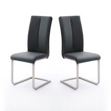 Schwingstuhl 4er Set Paulo 2 Esszimmerstuhl Stuhl in schwarz und Edelstahl