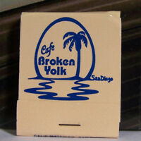 Vintage Matchbook P1 Cafe Broken Yolk Egg Sunset Palm San Diego California Jolla