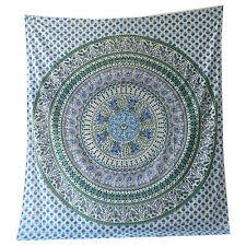 Couverture indienne Tenture Éléphants Paon Mandala Vert Blanc 230x210 cm