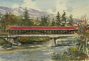 Saco River Covered Bridge, Conway, NH. Gerald Hill watercolor art notecards