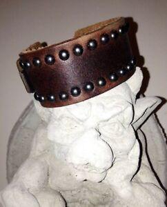 Biker Genuine Brown Leather Handmade Men's Adjustable Studded Cuff Bracelet