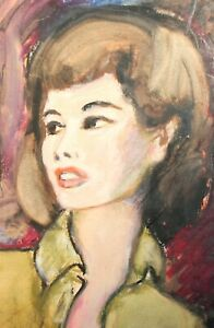Vintage pastel/watercolor painting impressionist girl portrait