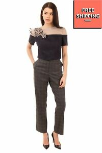 BAGHEERA Tailored Trousers Size IT 44 / M Stretch Plaid Cropped Made in Italy