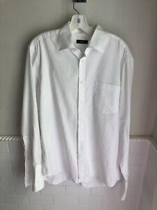 Hugo Boss RibbedWhite French Cuff Shirt 16.5-34/35 Cotton