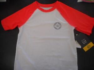 BABY GAP NWT Boy 4 years SS pullover white rashguard top orange sleeves UPF 50+