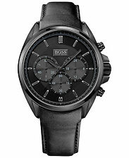 NEW HUGO BOSS HB 1513061 MENS BLACK LEATHER DRIVERS WATCH - 2 YEAR WARRANTY
