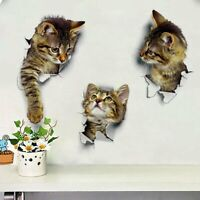3D Animal Cat Wall Sticker Car Window Toilet Seat Bathroom Home Art Decor Decal