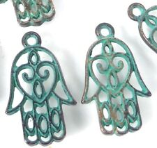 10 Hamsa Hand Charms Palm Protection Antique Bronze Pewter Green Patina 21x13mm