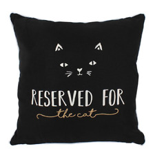 Black RESERVED FOR THE CAT Square Filled Cushion 34 x 34 NEW & SEALED FREE P&P