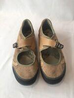 AHNU Women's Benicia Mary Jane Shoes Suede Leather Tan Casual Size 9 EU 39.5