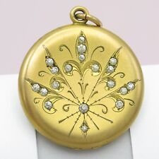 Antique Victorian Gold Filled GF Paste Pendant Locket