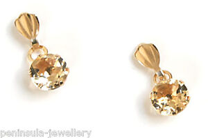 9ct Gold Citrine round Drop Earrings Gift Boxed Made in UK