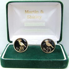BALI cufflinks made from old INDONESIA coins in BLACK and GOLD