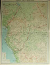 1922 LARGE ANTIQUE MAP ~ CENTRAL AFRICA WESTERN SECTION ~ CAMEROONS CONGO