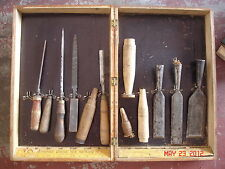 TEXAS ANTIQUE TOOLS CE JENNINGS NEW YORK CHISEL SET #71 Finger Jointed WOOD BOX