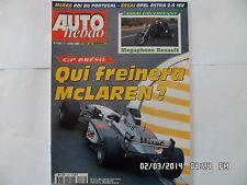 AUTO HEBDO N°1130 1 AVRIL 1998 GP BRESIL MCLAREN MEGAPHONE RENAULT F46