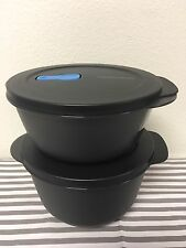 Tupperware Crystalwave 6 1/4 & 8 1/2 Cups Round Storage Bowls Set Of 2 Black New