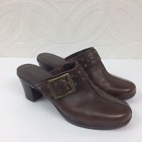 Womens CLARKS Bendables Brown Leather Block Heel Mules Clogs Slip On Shoes Sz 7M