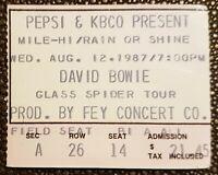 1987 DAVID BOWIE Glass Spider Tour Concert Ticket Stub Mile High Denver CO