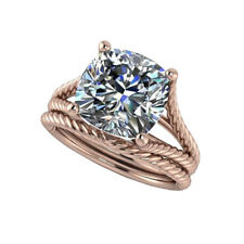 Engagement Ring Sets Size 5.25 6.25 7.25 Solid 14K Rose Gold Ring 2 Ct Diamond