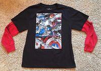 NWT Boy's Black Long Sleeve Marvel Captain America Avengers Top XL