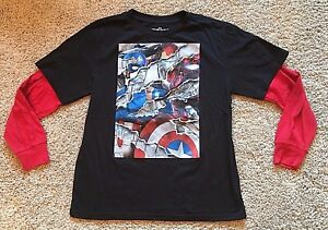 Boy's Black Long Sleeve Marvel Captain America Avengers Top XL