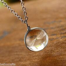 Fashion Dandelion Seeds Dried Flower Round Pendant Transparent Glass Necklace