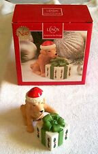 Nib Puppy Dog & Present Holiday Christmas Salt And Pepper Set, Makes Great Gift