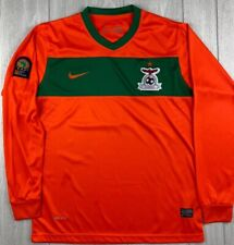 NIKE ZAMBIA National Soccer Jersey Africa Cup of Nations Orange Green Medium A+
