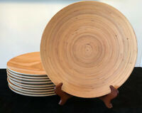 Precidio Bamboo Melamine Plastic Dinner Plates, Set of 10, Picnic, Barbecue, EUC