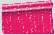 8m Metallic Foil Effect Birthday Wrapping Paper Roll - Pink wrap 4 x roll