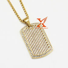 "24"" MEN STAINLESS STEEL LAB DIAMOND ICED DOG TAG PENDANT NECKLACE 3MM BOX CHAIN"
