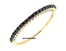 1mm Micro Pave Set Black Diamond Half Eternity Ring  Band 18k Yellow Gold