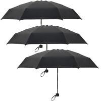 3 x Mini Compact Folding Handbag Black Umbrella Brolly Travel For Mens Ladies