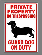 Metal Guard Dog On Duty Sign Private Property No Trespassing Dachshund New
