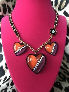 Betsey Johnson 60's Mod Retro Red & Purple Lucite Crystal Puffy Heart Necklace