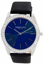 Kenneth Cole Women's Blue Dial Black Patent Leather Strap Watch 10031699 37mm