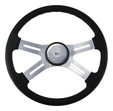 "4 Spoke 18"" Black Classic Steering Wheel 3-Hole for Freightliner, Peterbilt, KW+"