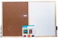 Wooden Framed Cork White Wipe Combo Board Message Notice Pin Memo 600 x 400mm
