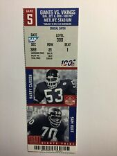 NEW YORK GIANTS VS MINNESOTA VIKINGS   OCTOBER 6, 2019 TICKET STUB