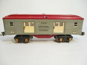 O Gauge Lionel 602 Baggage Car Gray Red Prewar X7455
