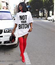 Women Fashion Short Sleeve Letter Print Loose Clubwear Casual Mini Shirt Dress