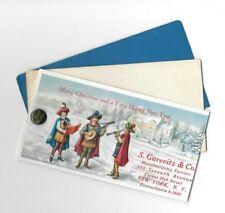 Vintage Celluloid Blotter Christmas Carolers S Gurevitz & Co Furriers w button