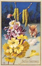 Easter~Brown Bunny Rabbit Finds 3 Eggs~Cat Tail Daffodil Bouquet~Embos~Nash E-38